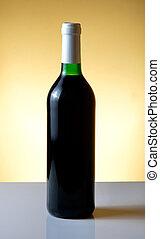 Vine bottle on orange background