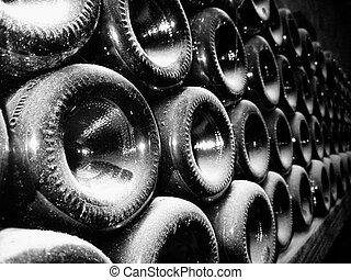 Vine bottles in vine cellar