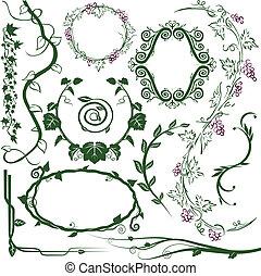 Clip art collection of various vine designs