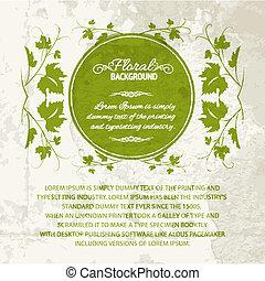 Vine leaf frame, vintage background. Vector illustration.