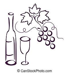 Bottle of wine, glass and cluster of vine on a white background.