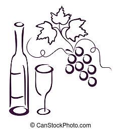 Vine still life. - Bottle of wine, glass and cluster of vine...