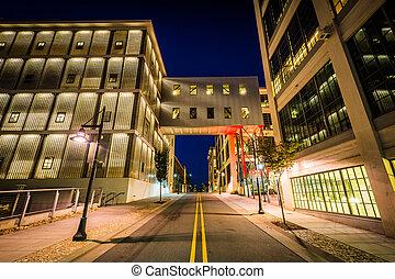 Vine Street at night, in Winston-Salem, North Carolina.
