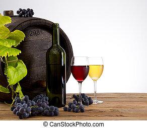 Vine with old barrel.