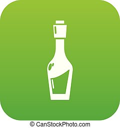 Vinegar bottle icon green vector isolated on white...
