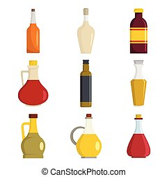 Vinegar bottle icons set, flat style - Vinegar bottle icons...