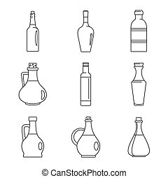 Vinegar bottle icons set, outline style - Vinegar bottle...
