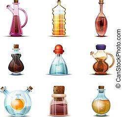 Vinegar icon set, cartoon style