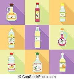 Vinegar icon set, flat style
