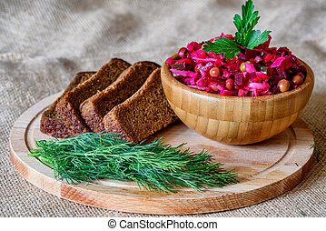 Vinegret - traditional Russian vegetable salad. Russian...