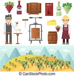 Vinery farm and vinery grape agriculture making vector.