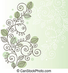 Vines and Leaves Doodle Design - Hand-Drawn Organic Doodle...