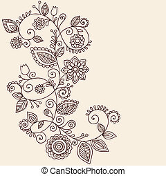 Hand-Drawn Abstract Henna Mehndi Mandala Flowers and Vine Paisley Doodles Vector Illustration Design Elements
