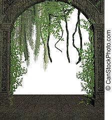Vines In A Doorway - Vines in a doorway on a white...