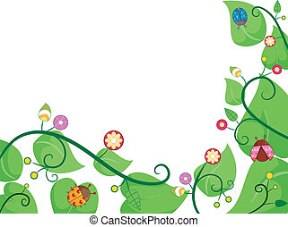 Vines with Ladybugs - Border Illustration of Vines with...