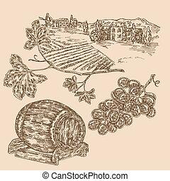 vineyad, set., grape., schizzo, illustrazione, mano, vettore, disegnato, barile, stile, vino