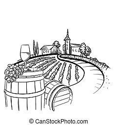 Vineyard barrel and glass drawing