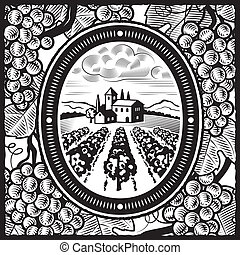 Vineyard black and white - Retro vineyard in woodcut style....