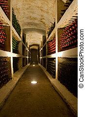 old bottles - vineyard cellar with old bottles