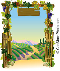 Vineyard Gate - Vector image of the vintage wooden gate with...