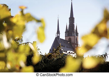 Vineyard in autumn with a view to the church of Kiedrich, Rheingau, Hesse, Germany