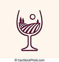 Vineyard landscape in wine glass - Stylized vineyard...