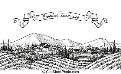 Vineyard seamless landscape. Vine sketch isolated on white....