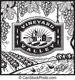 Retro landscape with Vineyard Valley sign in woodcut style. Black and white vector illustration with clipping mask.