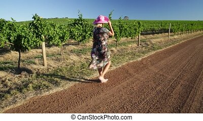 Vineyard winery tourism - Vineyard winery grape picking....