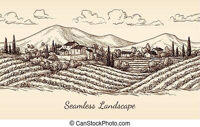 vingård, landskap., seamless
