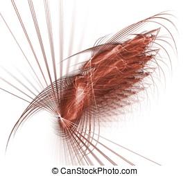vinge, och, dragar, abstrakt