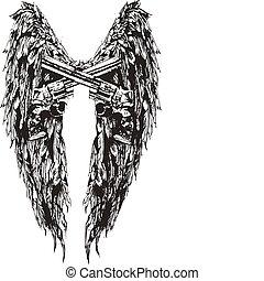 vinge, och, gevär, design