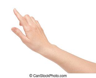 vinger, beroeren, feitelijk, scherm, vrijstaand