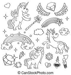 vinger, sæt, trylleri, stjerner, firmanavnet, hånd, krystaller, vektor, regnbue, enhjørning, stram, fairy, udkast