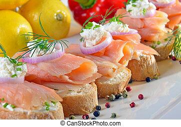 vinger-voedsel, salmon