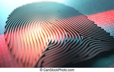 vingerafdruk, lezer, biometric