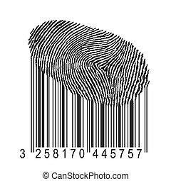 vingerafdruk, met, streepjescode