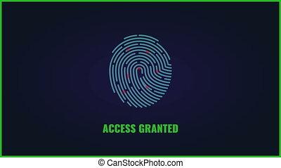 vingerafdruk, onderzoeken nauwkeurig, video., vinger afdruk, toegang, granted, animatie
