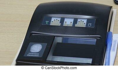 vingerafdruk, scanderen, met, biometrics, identificatie