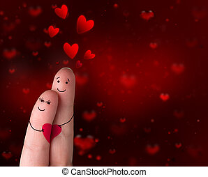 vingers, verliefd, -, valentine's dag