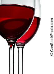 vinglas, två, röd vin