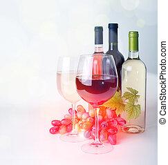 vinglas, vin flaskor, och, druvor