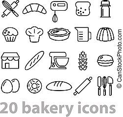 vingt, boulangerie, collection, icônes