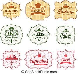 vinhøst, bageri, etiketter, retro, samling