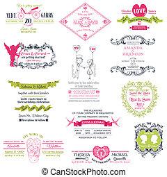 vinhøst, bryllup, -, samling, vektor, invitation, scrapbog, konstruktion