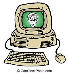 vinhøst, computer, cartoon