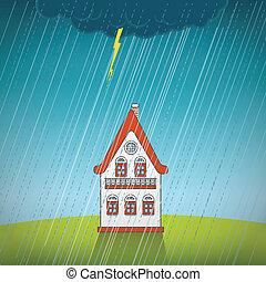vinhøst, enlige, regn, hus