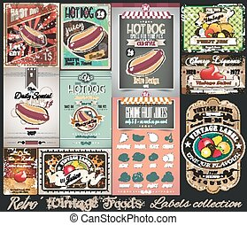 vinhøst, etiketter, mader, retro, collection., lille, plakater
