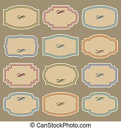 vinhøst, etiketter, sæt, (vector), blank