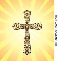 vinhøst, kristen, kors, og, sol stråle